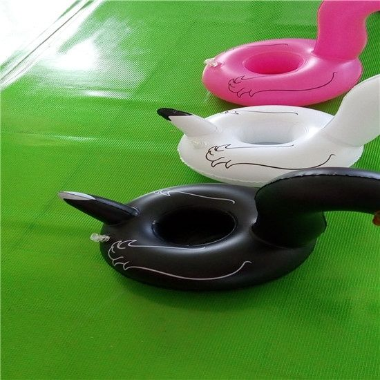 Lovely toy with Inflatable Big Black Swan Cup holder for Beverages