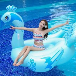 Beautiful float Giant inflatable Blue Color Peacock Float for Adult swim